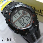 Jam tangan Q&Q M121 J001Y Black Orange Original