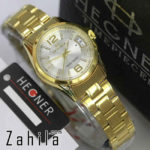 Jam tangan Hegner HW1295 Date Gold White for Ladies